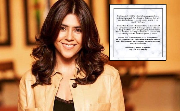 COVID-19: Ekta Kapoor gives up one-year salary of 2.5cr for employees