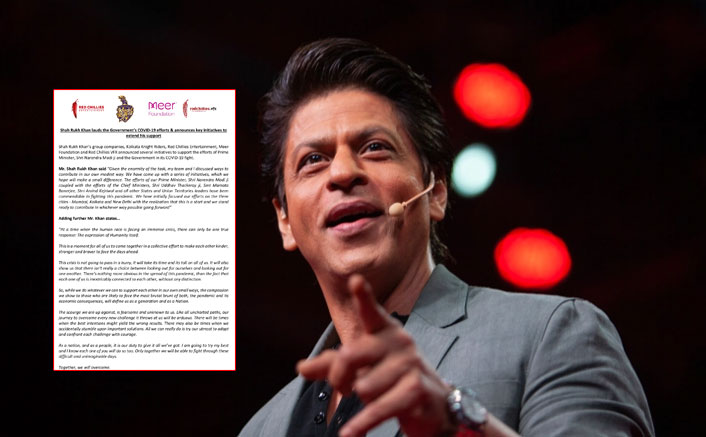 Shah Rukh Khan's Efforts To Tackle Coronavirus Crisis Get Lauded By Prominent Personalities