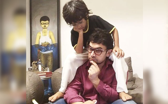 This Picture Of Aamir Khan's Son Aazad Sitting On His Shoulders Comfortably Makes The Lockdown Look Beautiful
