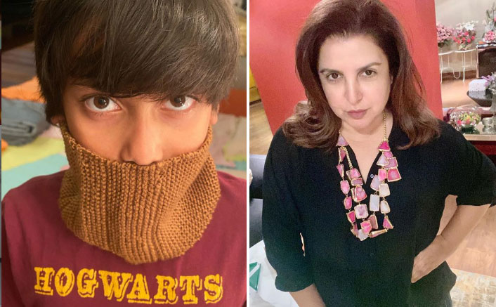 Farah Khan's Son Czar Uses Her Self-Knit Hairband Band As Mask