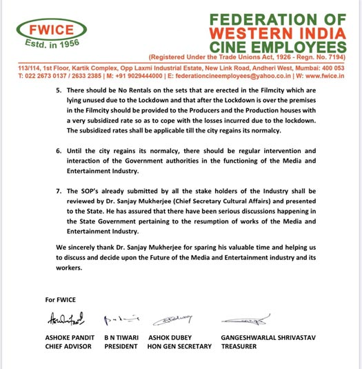FWICE & Other FIlm Associations Conclude A Meeting After Discussing No Rental Policy & Much More!