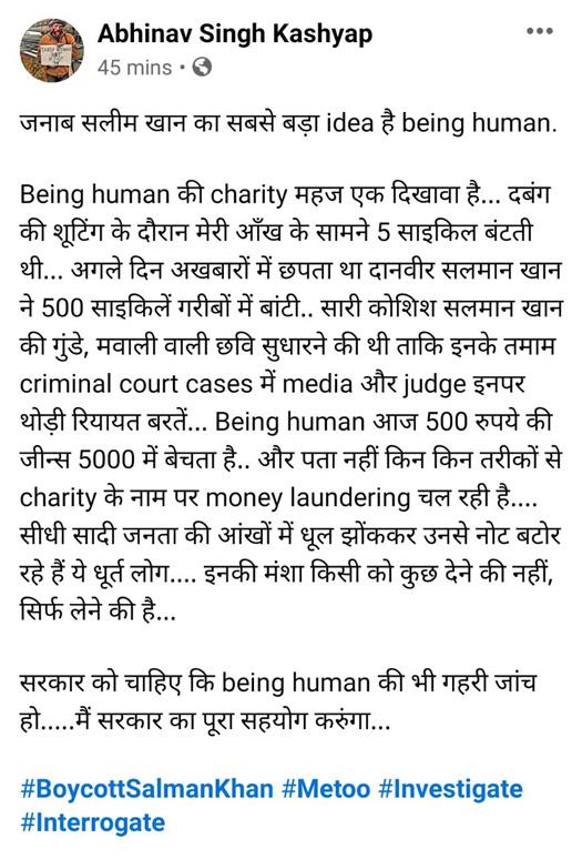 "Dabangg Director Abhinav Kashyap Calls Salman Khan's Being Human Money Laundering Hub: ""Seedhi Saadi Janta Ki Ankhon Mein Dhool..."""