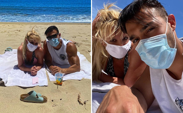 Britney Spears Follows The Rules On Her Beach Date Wearing A Mask With Bikini (Photo Credit: Britney Spears - Instagram)