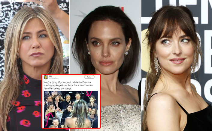 Dakota Johnson Staring At Angelina Jolie IGNORING Jennifer Aniston At Golden Globes Makes Us Want To Grab Popcorn!