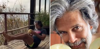 Milind Soman works out with muskmelon as weight