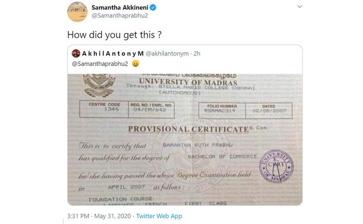 Samantha Akkineni's Degree Certificate Goes Viral On Social Media As Her Fan Leaks It