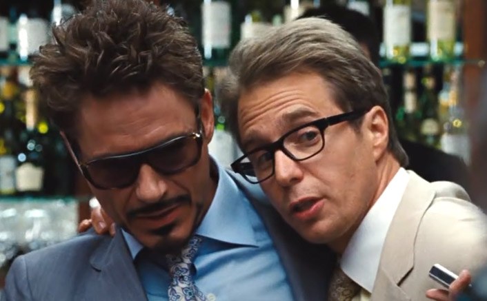 Robert Downey Jr's Tony Stark & Sam Rockwell's Justin Hammer Looking SHARP