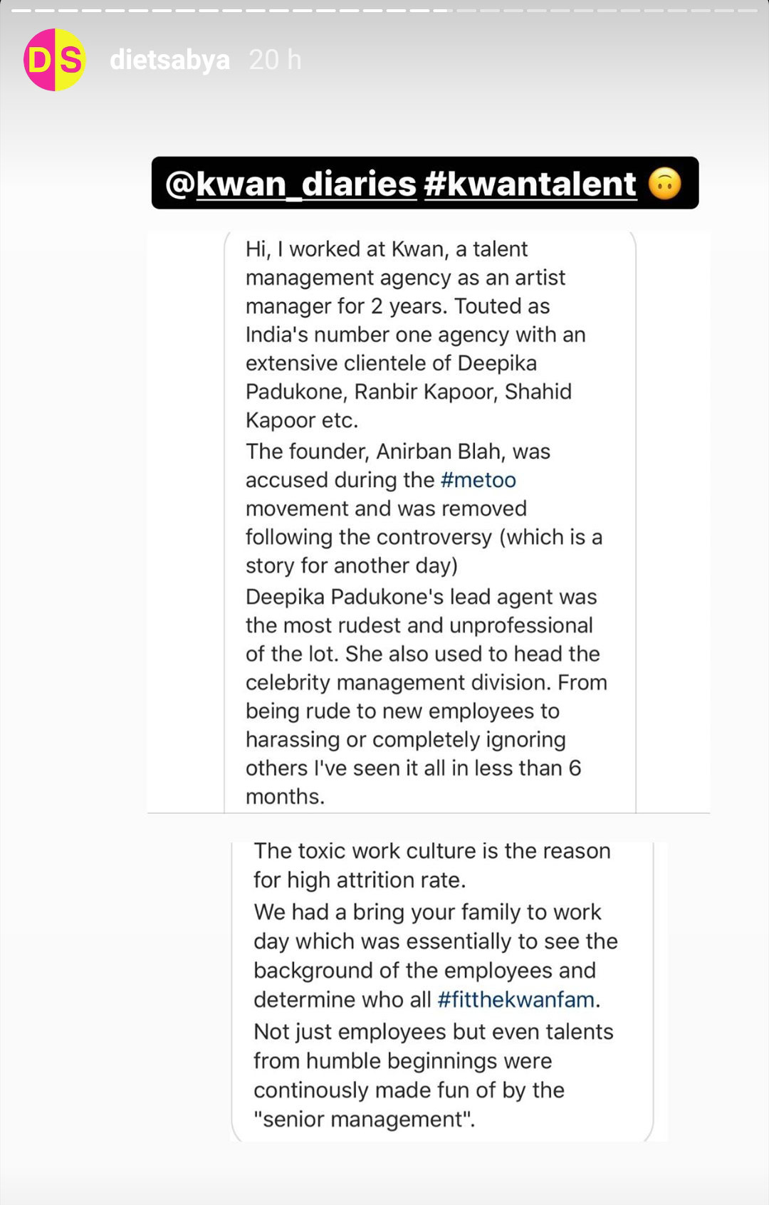 Diet Sabya Calls Out Deepika Padukone & Ranbir Kapoor's Talent Agency For Harassment and Toxic Work Environment(Pic credit: dietsabya/Instagram)