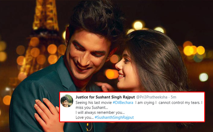 Dil Bechara Review: Twitterati Say They Can't Stop Crying While Watching Sushant Singh Rajput's Terrific Act In His Last Film!(Pic credit: Twitter/Justice for Sushant Singh Rajput)