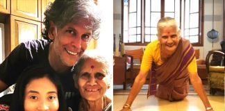 Milind Soman's mom pulls off 15 push-ups in saree at the age of 81