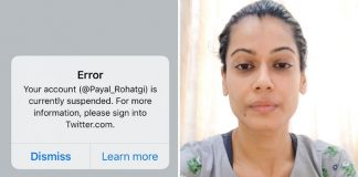 Payal Rohatgi's Twitter Account SUSPENDED Yet Again For No Reason