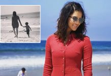 Sunny Leone and her 'little nugget' take a stroll on the beach