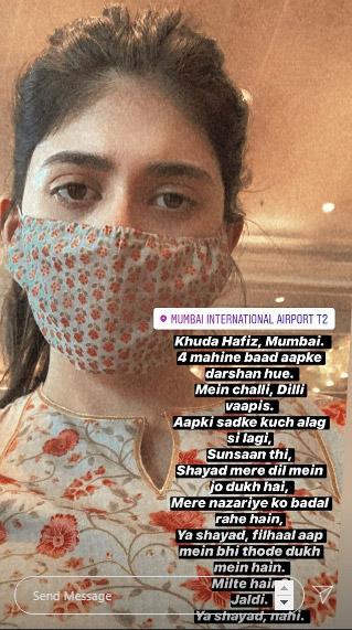 Sanjana Sanghi's Instagram Story