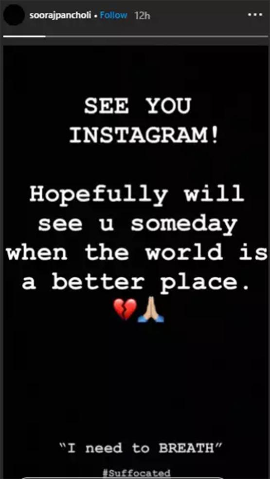 A Suffocated Sooraj Pancholi Bid Adieu To Social Media; Deletes All Instagram Posts Except THIS