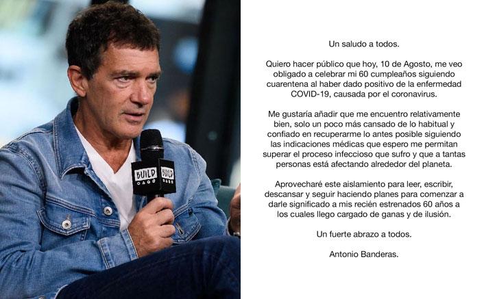 Antonio Banderas reveals testing Covid-19 positive on 60th b'day