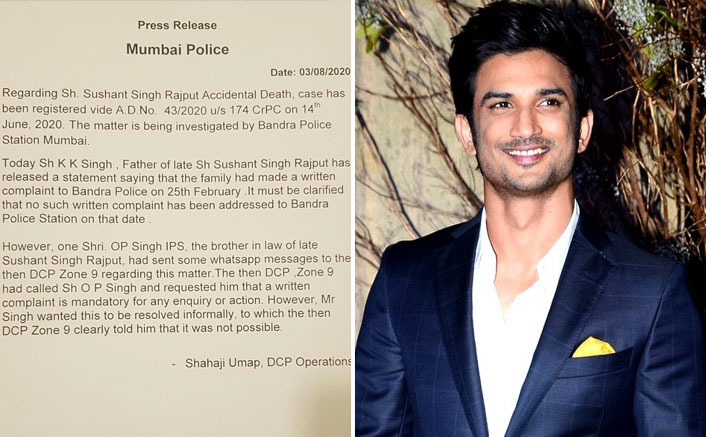 Mumbai Police says no written complaint was filed by Sushant's family in Feb