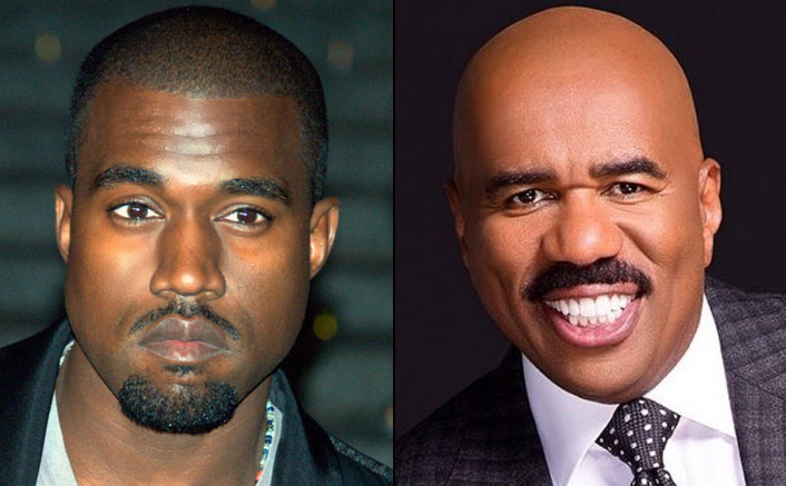 Rapper Kanye West Trolled For His Grammer After Posting Picture Hanging Out With Family Feud Host Steve Harvey