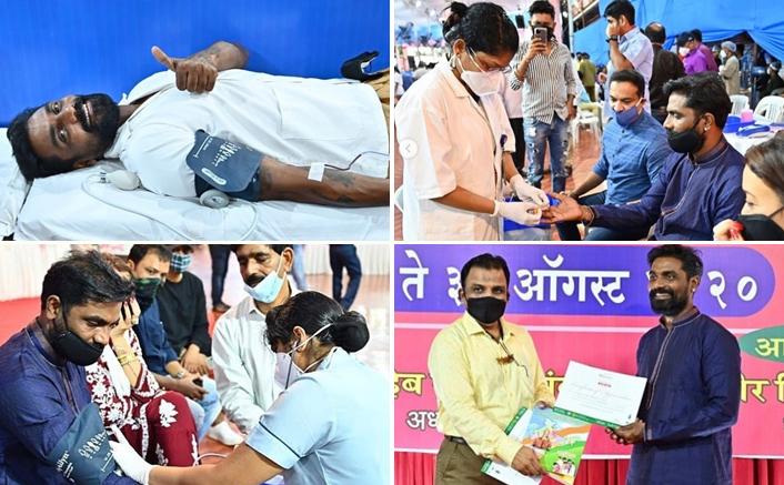 Remo Dsouza donates blood at Lalbaugcha Raja Ganpati Utsav