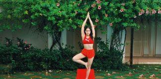 Sara Ali Khan does yoga by swimming pool