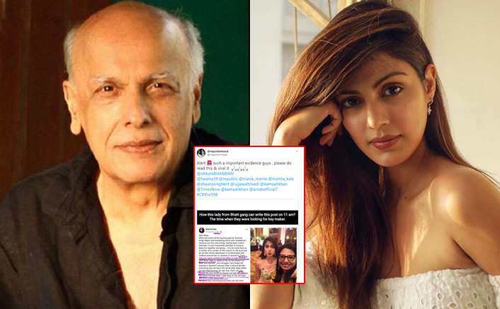 Sushant Singh Rajput's Death Case: Screenshot Of Mahesh Bhatt's Associate's FB Post For Rhea Chakraborty Goes Viral