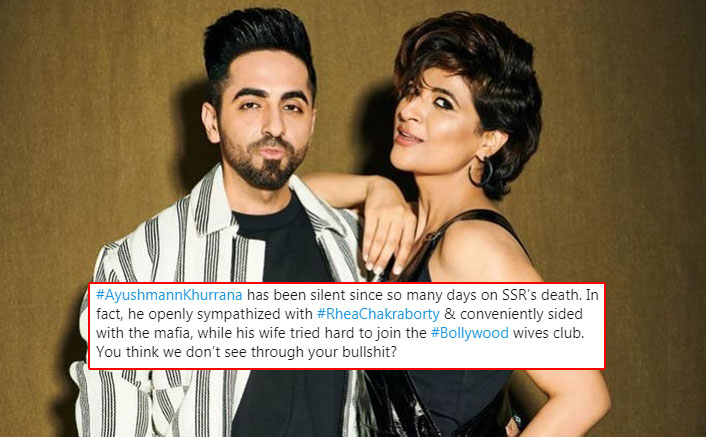 Sushant Singh Rajput: Netizens Troll Ayushmann Khurrana For Supporting Rhea Chakraborty & Wife Tahira Kashyap On Joining The 'Bollywood Wives' Club