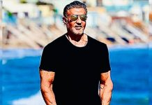 Sylvester Stallone enjoys a day on the beach with family