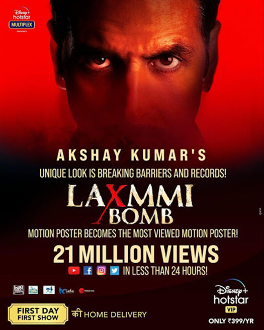 Akshay Kumar's Laxmmi Bomb Motion Poster Crosses 21 Million Views In Less Than 24 Hours