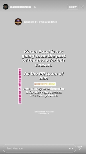 Bigg Boss 14: Karan Patel Officially Said He Isn't Participating In Salman Khan's Show!