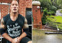 Dwayne Johnson tears down gate with bare hands