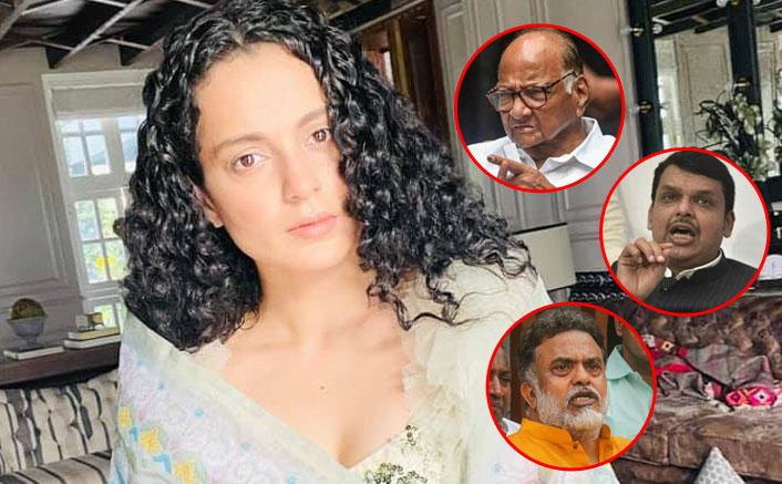 Pawar, Fadnavis, Nirupam slam BMC for partly razing Kangana's office