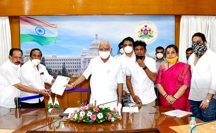 Sandalwood Delegation Led By Superstar Shivarajkumar Appeal To K'tka CM Asking For A Relief Package