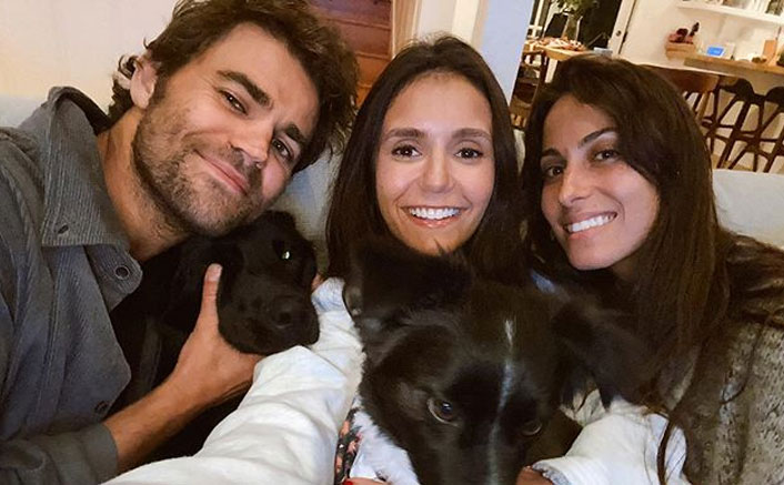 The Vampire Diaries Actors Nina Dobrev & Paul Wesley Have A Fun Puppy Play Date