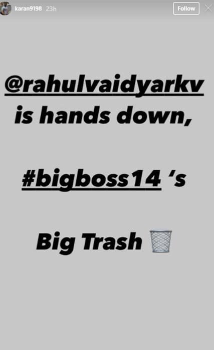 Bigg Boss 14: Rahul Vaidya is 'big trash' on the show, says Karan Patel