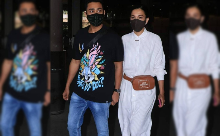 Gauahar Khan Opts For A Massimo Dutti Dress At The Airport & It's Super Classy!