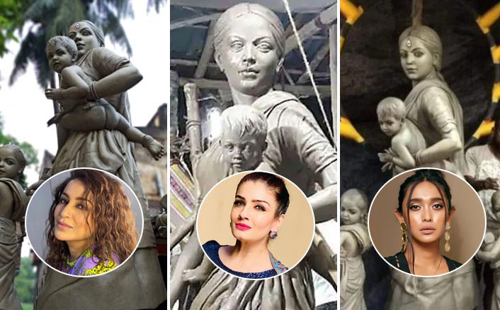 From Raveena Tandon To Sayani Gupta – B'Town In Awe Of Ma Durga's Statue Sculpted As A Migrant Worker