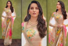Nora Fatehi's Floral Sabhyasachi Saree Ticks All The Boxes For A Perfect Karwachauth Outfit
