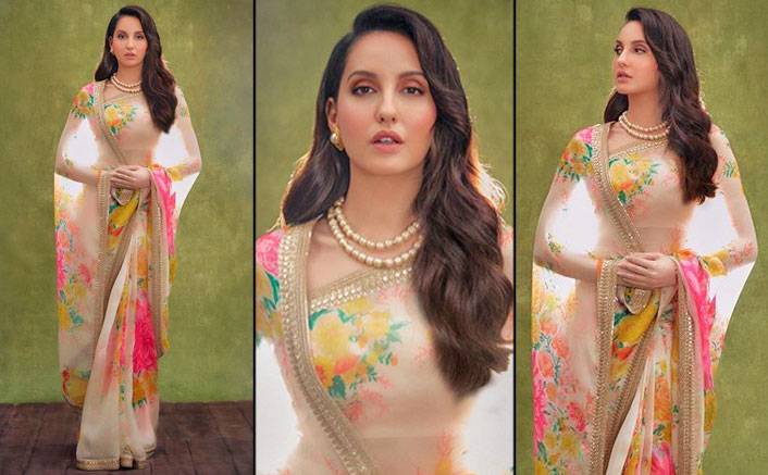 Nora Fatehi's Floral Sabyasachi Saree Ticks All The Boxes For A Perfect Karwachauth Outfit