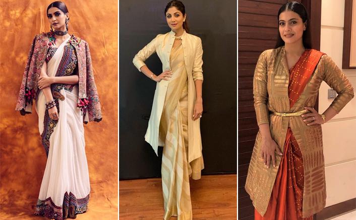 This Festive Season Look Like A Boss With A Coat Over Your Saree Like Sonam Kapoor, Shilpa Shetty & Kajol