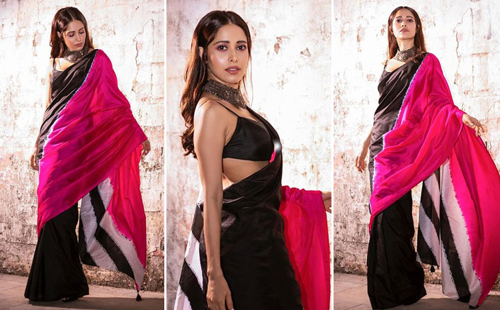 Nushrratt Bharuccha's Black & Pink Saree With Choker Necklace Is THE Fashion Steal For Diwali 2020!