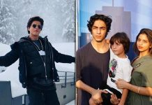 Suhana Khan poses with dad SRK, brothers Aryan and AbRam