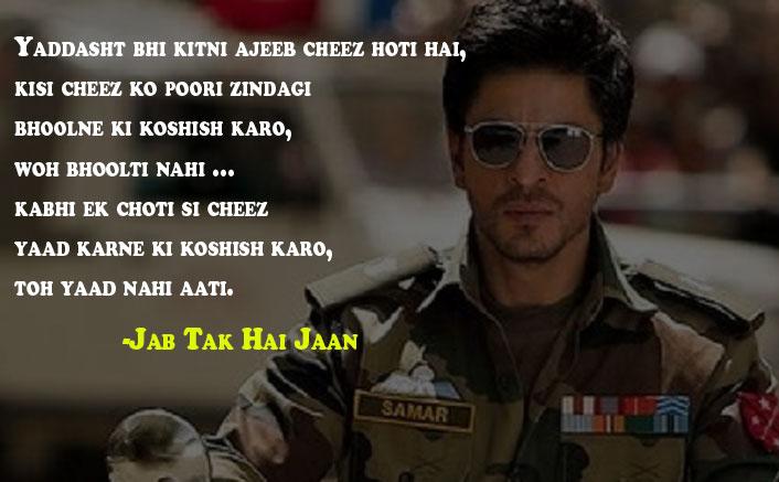 Yaddasht bhi kitni ajeeb cheez hoti hai Jab Tak Hai Jaan Dialogue