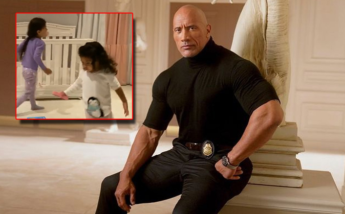 Dwayne Johnson Having Fun With His Daughters Before Bedtime