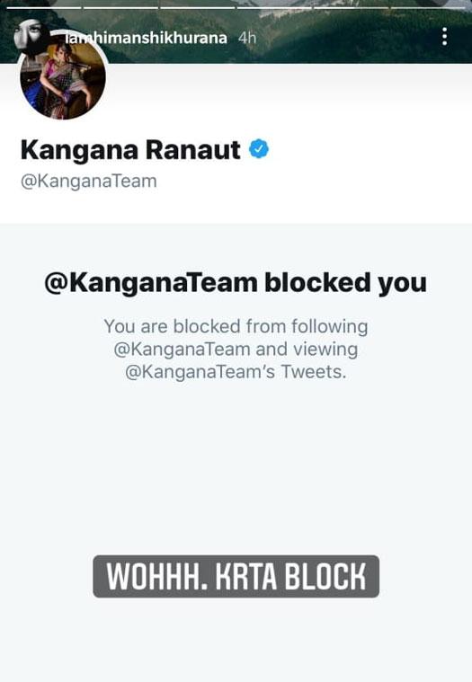 Himanshi Khurana Blocked By Kangana Ranaut