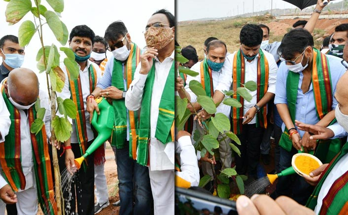 Ajay Devgn takes part in plantation programme in Hyderabad