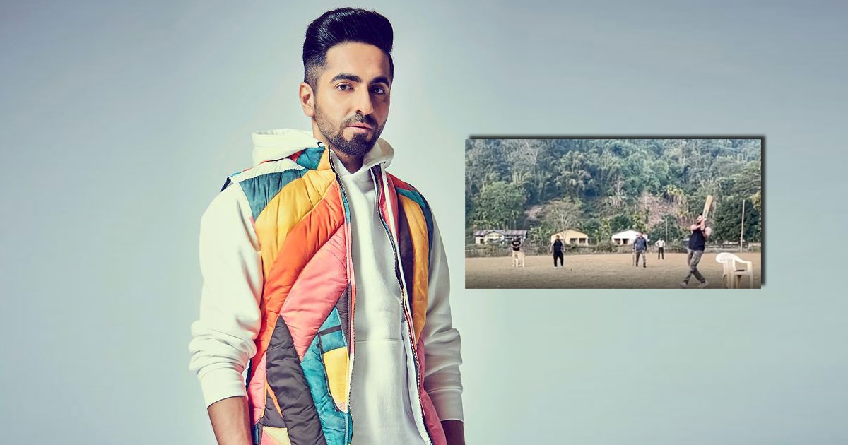 Ayushmann Khurrana Entertains The Local Kids Of Assam With His Batting Skills, Check Out!