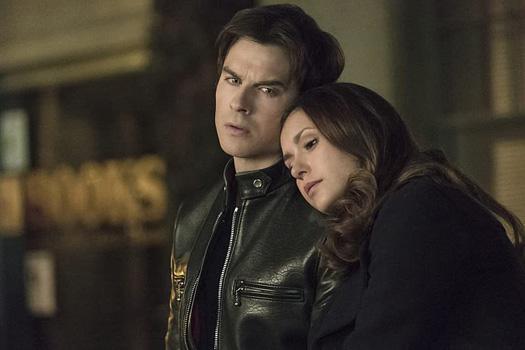 Damon Salvatore & Elena Gilbert In A Still From The Vampire Diaries