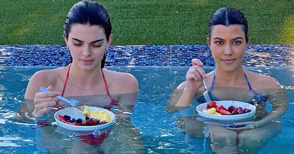 Kourtney, Kendall spend some pool time together