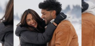 See Pics - Mrunal Thakur to romance Guru Randhawa in an upcoming music video, the pair look adorable as they shoot for the video in snowy locales of Kashmir