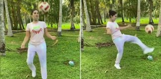 Sunny Leone shows her football skills