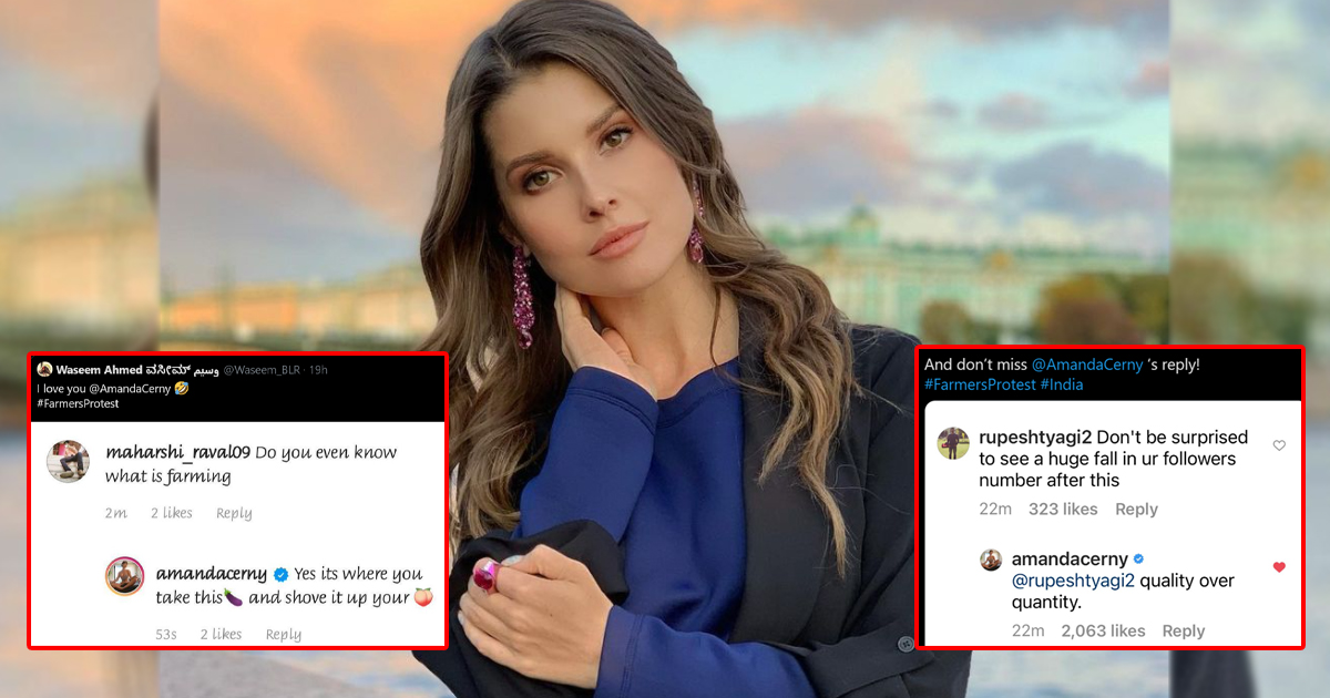 Amanda Cerny Gives Brutal Replies To Trolls On Her Farmers' Protest Post On Instagram